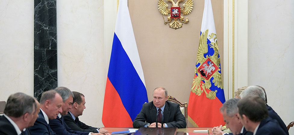 Russias President Vladimir Putin chairs a meeting of the Security Council of Russia