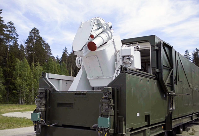A Russian military vehicle with the laser weapon Peresvet