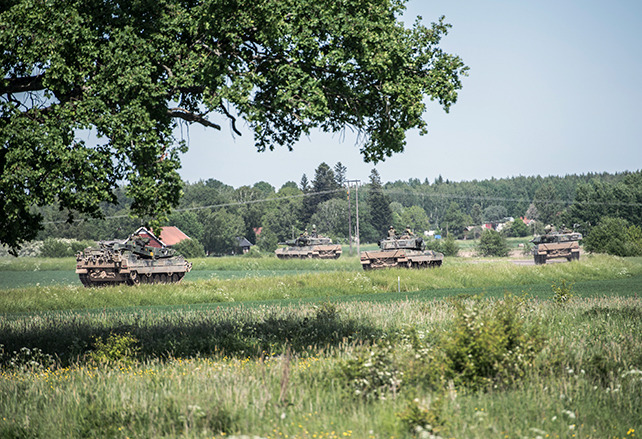 Tanks in a field