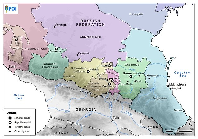 Map over the North of Caucasus